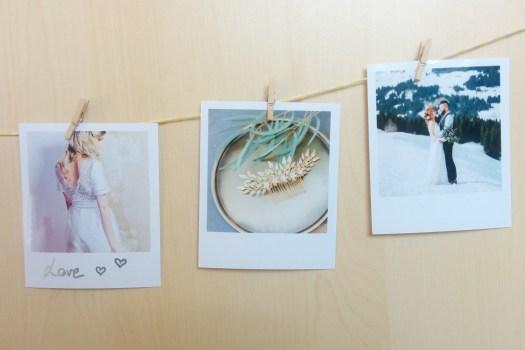 Polaroid sur cordelette de la wedding box Cheerz x ZankYou