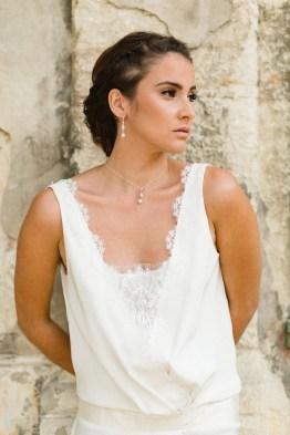 """""""Clélie"""" collier de mariée avec pendentif rétro et perle"""