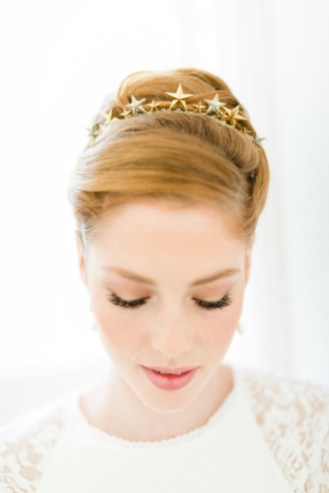 """Couronne diadème mariage """"Alice"""" avec étoiles et cristaux Swarovski"""