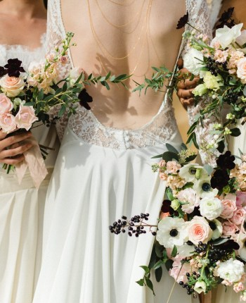 Trio de mariée et leurs bouquets