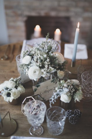 Décoration de table pour un mariage en hiver