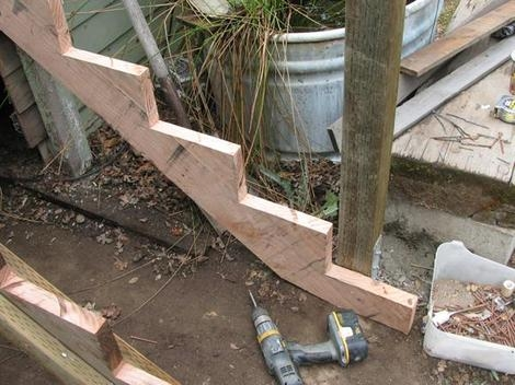 How To Build Some Simple And Cheap Wooden Steps   Wood Steps Over Concrete Steps   Cement   Concrete Patio   Brick   Stair Stringers   Curb Appeal
