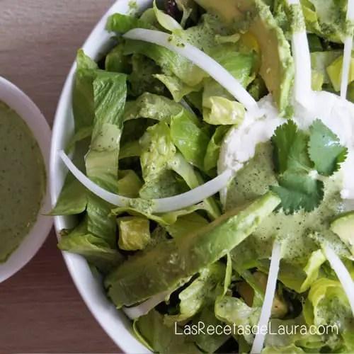 Ensalada Verde con Aderezo de Cilantro| Las Recetas de Laura