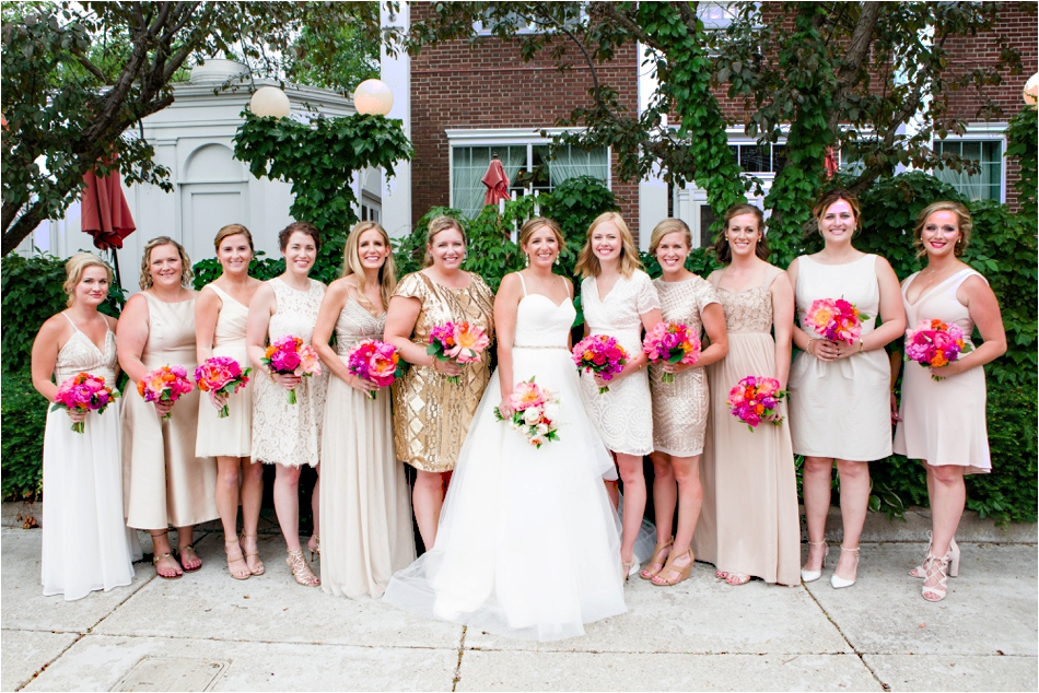 Gold and Pink Bridesmaids dresses