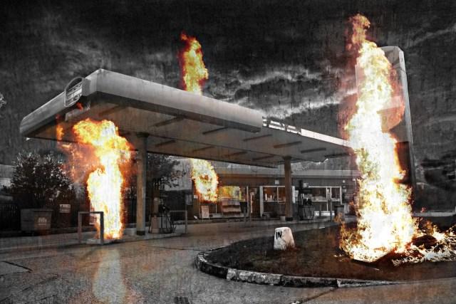Burning Forecourt by Anthony White (thelastsurvivors.co.uk) © Anthony White