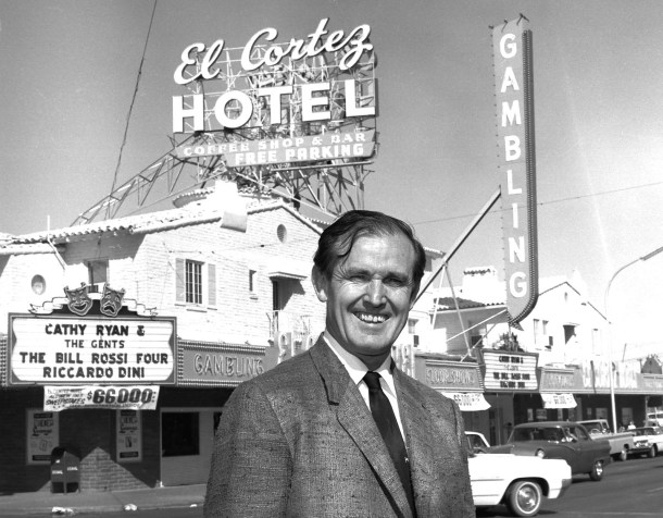 Jackie Gaughan in front of his El Cortez Hotel/Casino 1965