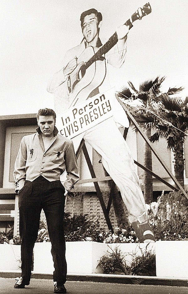 Elvis Presley at the new frontier hotel in Las Vegas 1956