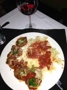 Veal Braciole over Butterfly Pasta with Marinara
