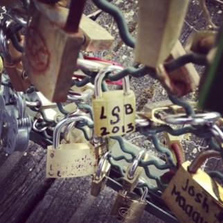 Pons des Arts Bridge locks with initials