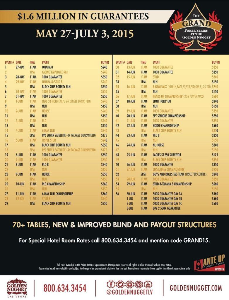 golden nugget grand poker series 2015 schedule