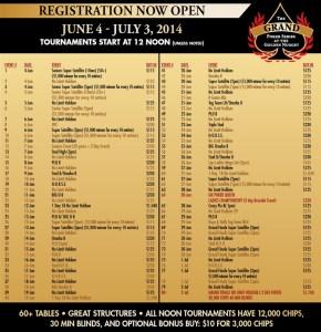 programme golden nugget grand poker series 2014