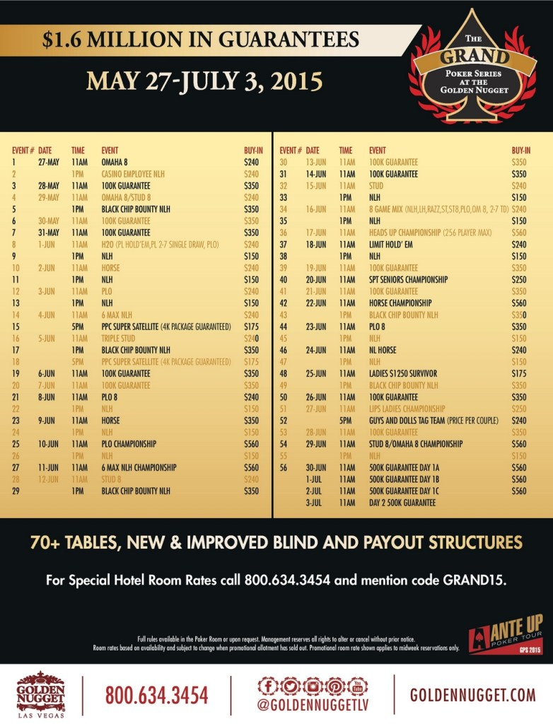 programme golden nugget grand poker series 2015