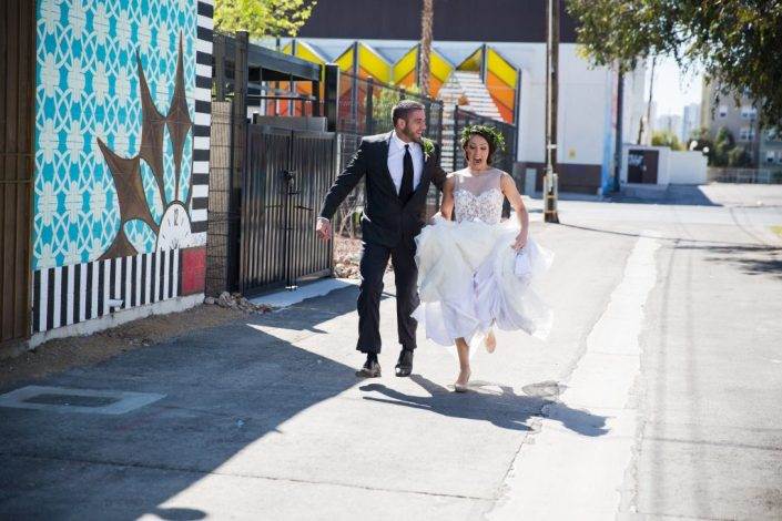 Professional Services Photo Credit:Jamie Photography & Taylored Photo Additional credits: Hair & Makeup: Makeup In The 702 Styling & Props: Nostalgia Resources, Officiant: Peachy Keen Unions, Florals: Miss Daisy Floral, Venue: Atomic Liquors, Cake & Brunch Items: Mad Batter USA, Invitation Suite: Paper & Home, Dress: Liz Le, Glassware: Shop Blu Marble, Sugar: A Mess of Good