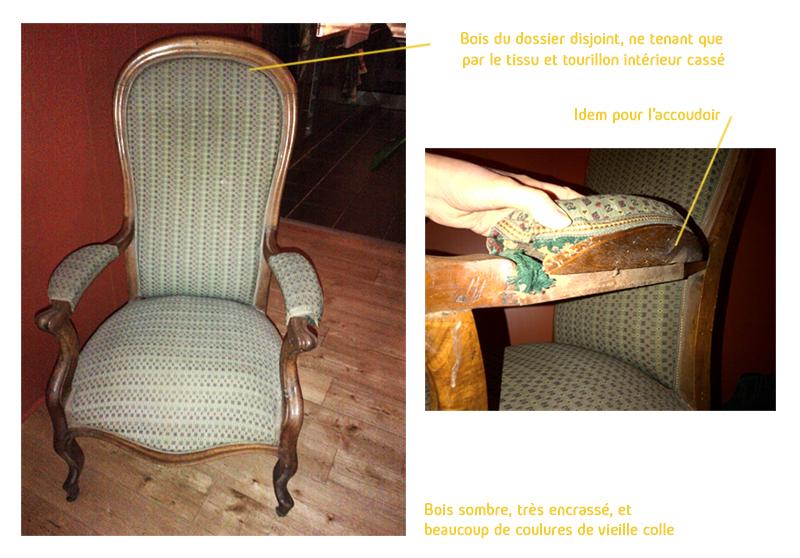 AVANT – le fauteuil Voltaire était cassé, l'assise et le dossier affaissés et le tissu usé : il fallait le rénover intégralement