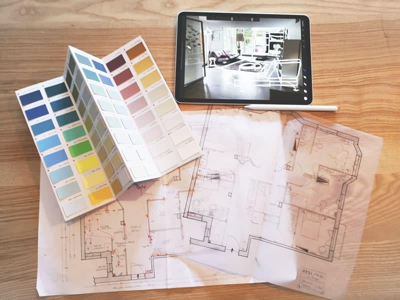 Coaching aménagement et déco pour aborder vos plans d'agencement, les couleurs, les meubles et accessoires, avec des croquis pour vous projeter