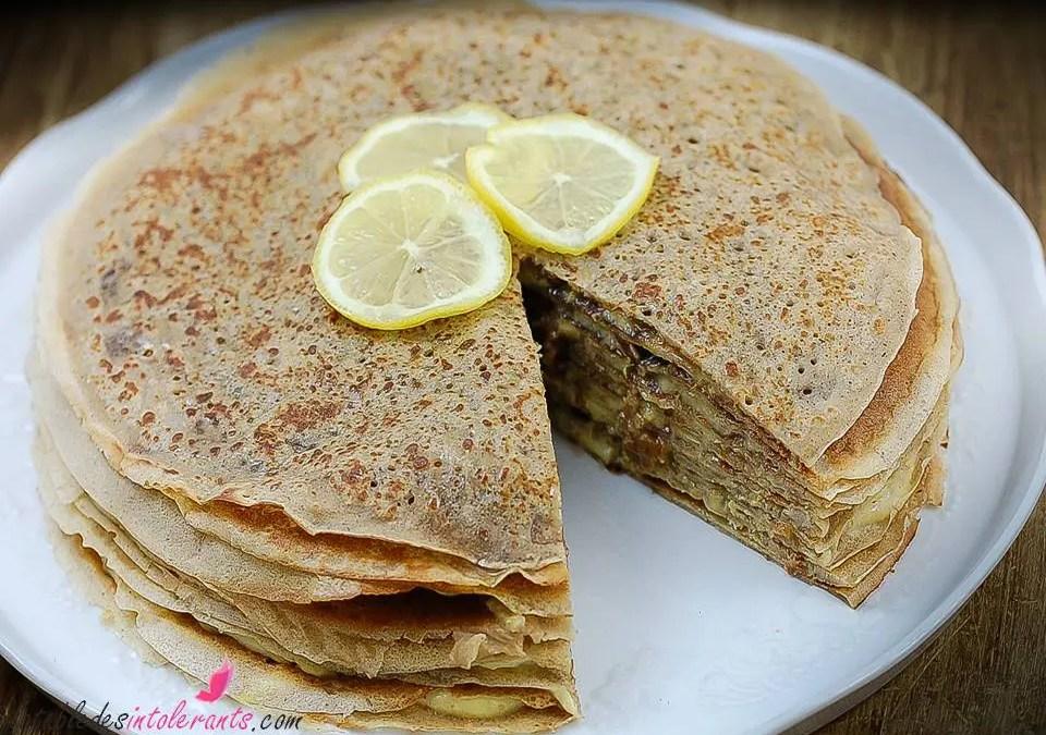 Gâteau de crêpes au Lemon Curd sans gluten, sans lactose ou sans lait, sans sucre