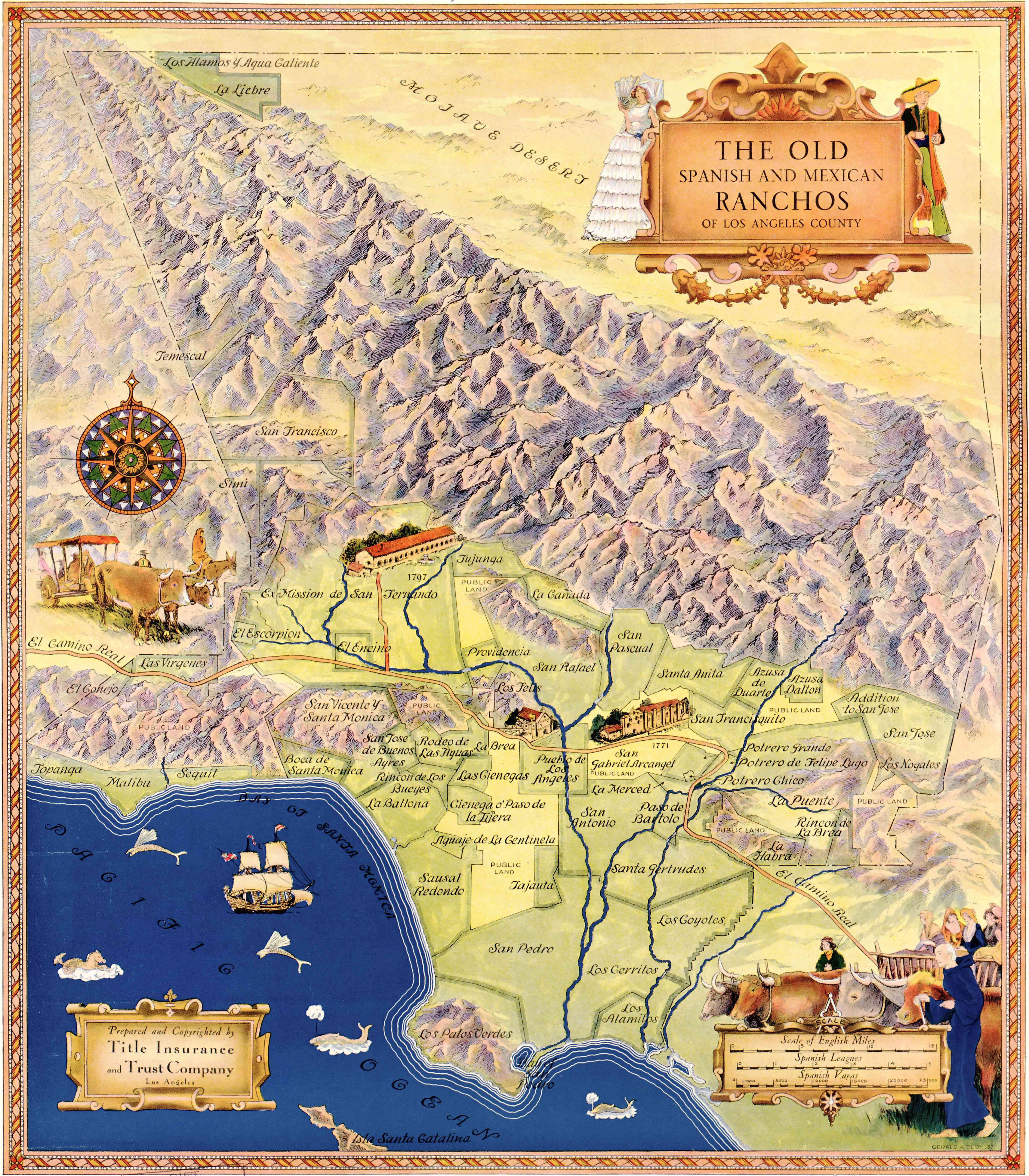 Illustrated Map of the Old Spanish and Mexican Ranchos of Los ...