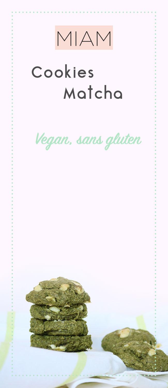 Venez découvrir ma recette de cookies matcha, pépites de chocolat blanc et noix de macadamia vegan et sans gluten .