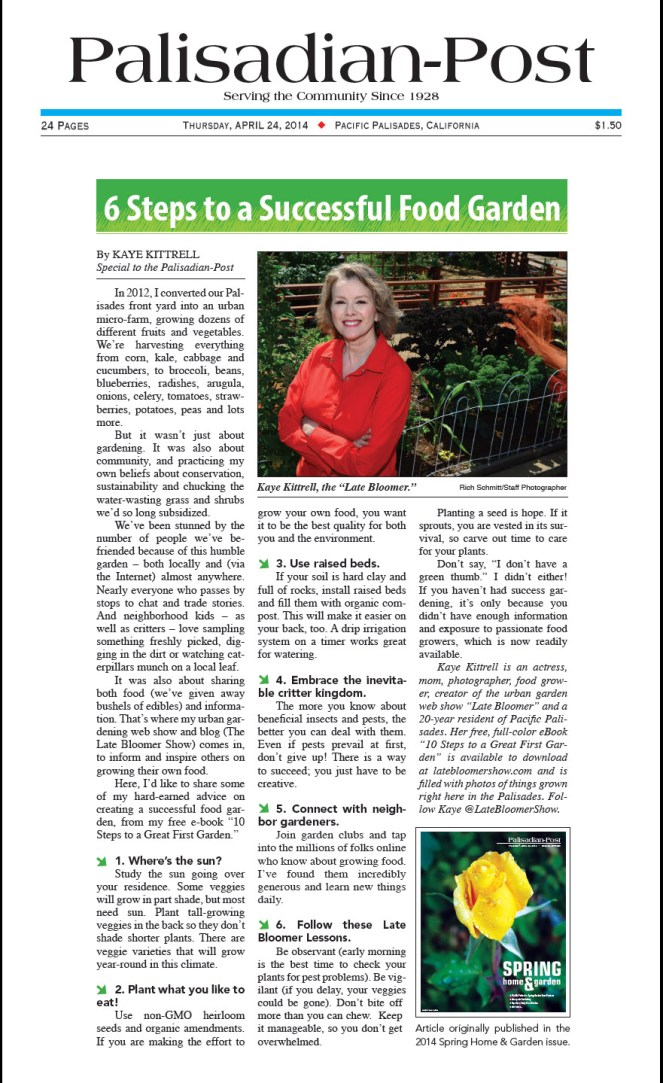 Palisadian-Post features Kaye in Spring Garden issue