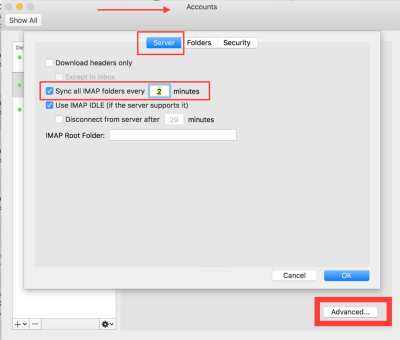 disable sync outlook for mac