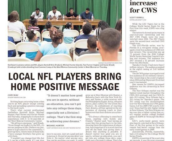 Local NFL players return home, share positive message with kids
