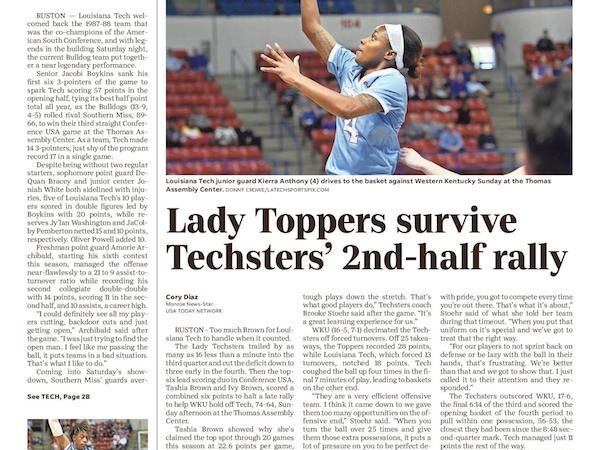 Western Kentucky holds off second half Lady Techster rally