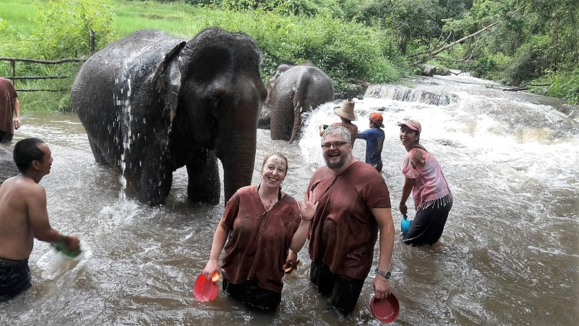 Washing Elephants in Waterfall
