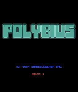 La schermata iniziale del videogioco Polybius