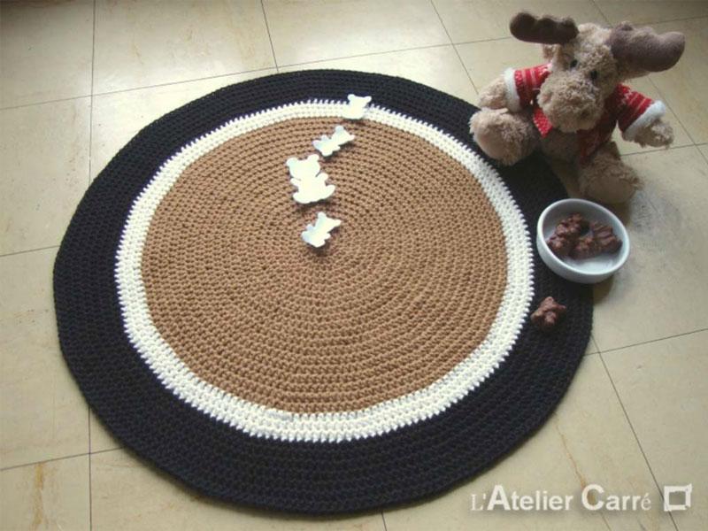 tapis rond personnalisable laine avec sujets