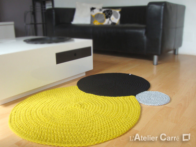 tapis en laine 3 ronds encastres personnalisable