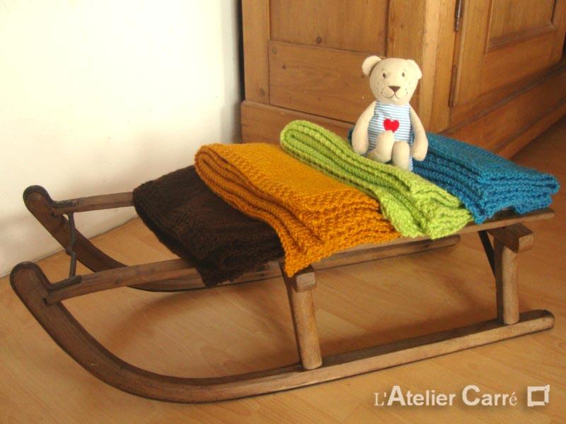 couverture bébé en laine personnalisable prénom ou texte