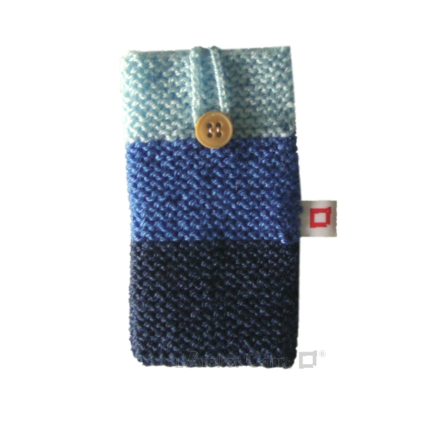 Housse pour smartphone en laine tricolore bleu