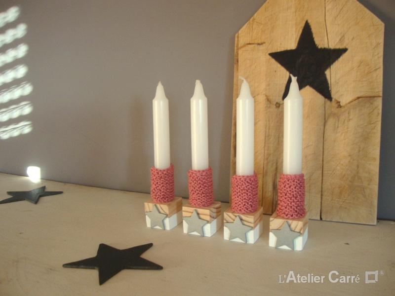 bougeoirs en bois bicolore et chaussettes à bougies rose ancien