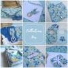 Collection Iris : une pluie de petites fleurs bleues déclinées sur des accessoires pour bébé