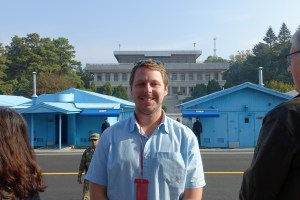 My goofy head concealing part of Panmungak Hall on the North Korean side.