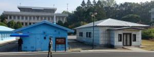 The blue buildings are UN controlled, the grey ones, DPRK controlled.