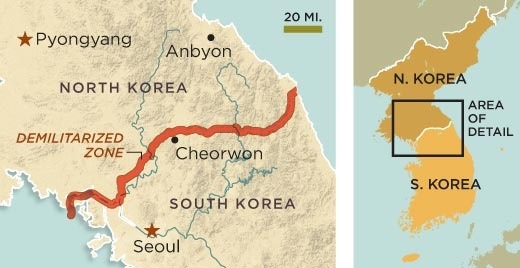 Only 35km from Seoul to the border.