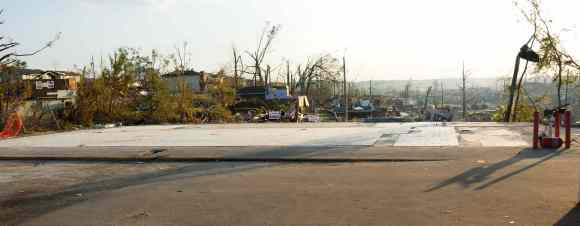 Along Veterans Memorial Drive, Birmingham, AL. An EF-4 tornado destroyed a convenience store and gas station.