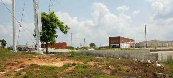 May 2012. Looking northeast toward the corner of Main and Walker Streets.
