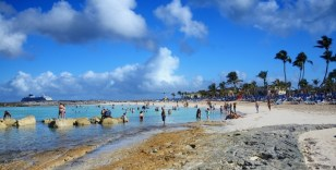 Bahama beach party, Great Stirrup Cay; Norwegian Sky in the background.