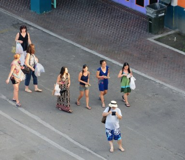 Guests returning to the Norwegian Sky on Sunday afternoon, Nassau.