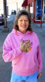 Cathy was panhandling in Pineville. She described her violent first husband (now dead from an accident), and showed off the scars on her legs and stomach from the many injuries he inflicted. She receives disability payments.