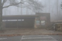 Visitor station in the fog.