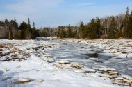 Ice accumulation along the Machias River, Maine