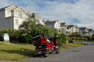 Big Red in a vacation home subdivision, Outer Banks, NC, 2009
