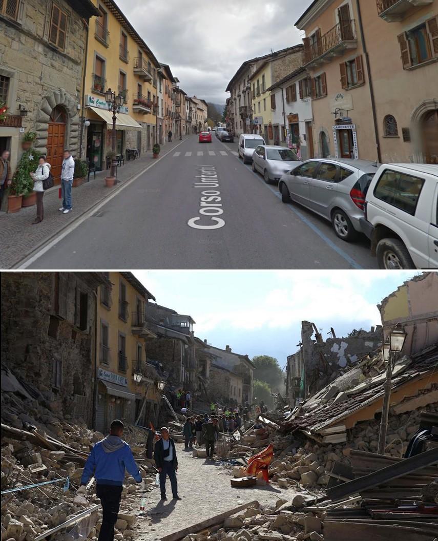 Le côté sud de Corso Umberto a été dévasté