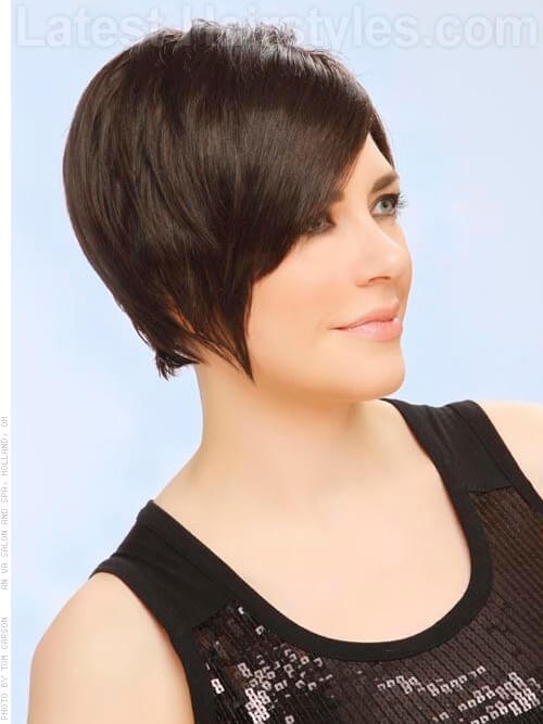 Long Pixie Short Swooping Style With Bangs Side View