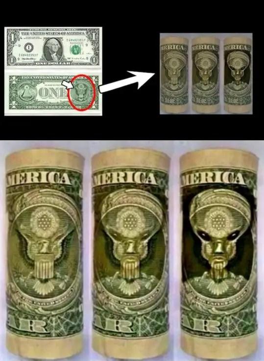 Grey Alien Dollar Bill