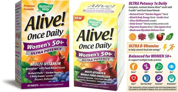 Nature's Way Alive! Once Daily Women's 50+ Ultra Potency Multi-Vitamin tablets