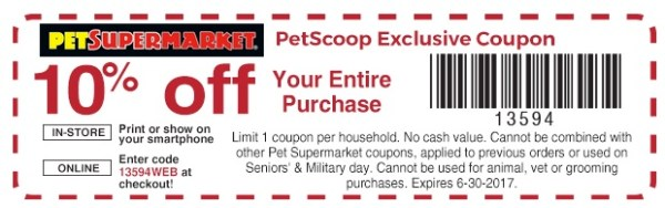 Pet supermarket printable coupons 2019